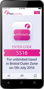 A smartphone showing the Skills Show bus e-ticket