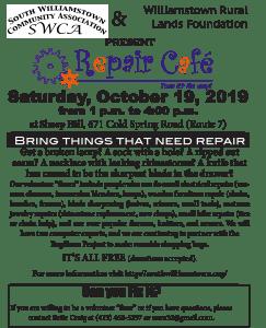 repair cafe poster - october 19, 2019
