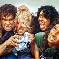 Slayer Band, Kerry King, Jeff Hanneman, Tom Araya, Dave Lombardo - Original Painting Poster, plastic & acrylic paints, 110x150cm canvas