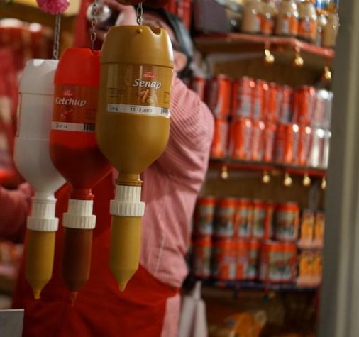 swedish hot dogs food vendor Gamla Stan Christmas
