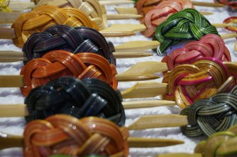 Hair pins at Freyung, Vendor at Freyung, one of the best Vienna Christmas Markets.