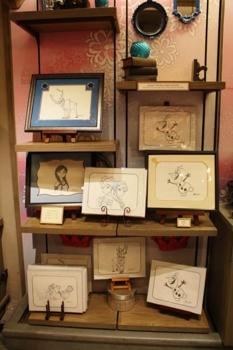 Frozen sketch display at Disney World gift shops