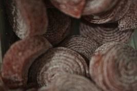 red Swedish spiral licorice candy souvenir