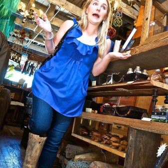 Anne (who also gives tours) gets into the spirit of the shop by demonstrating a wooden leg.