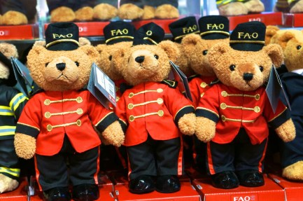 FAO Schwarz doorman bears stuffed animal.