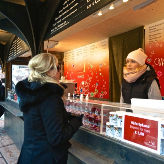Stephansplatz Christmas Market Vienna Austria vendor gluwein beer food drink stall