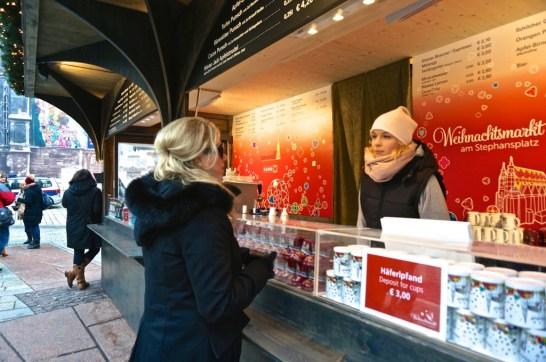 Stephansplatz Christmas Market Vienna Austria vendor gluwein beer food drink stall