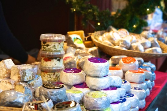 Stockholm Sweden Christmas Market Kungstradgården stall cheese food