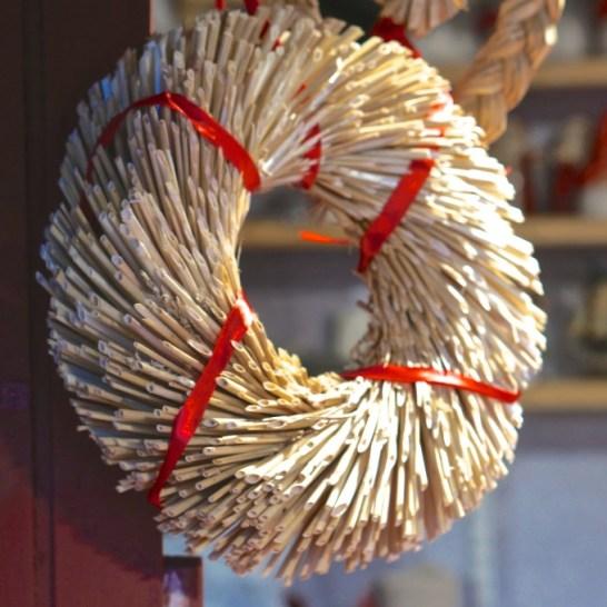 Stockholm Sweden Christmas Market Kungstradgården straw wreath