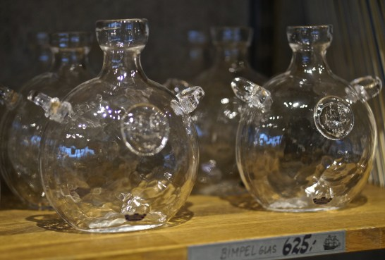 Hand-blown glass vessels (souvenir from Vasa Museum Gift Shop, Stockholm, Sweden).