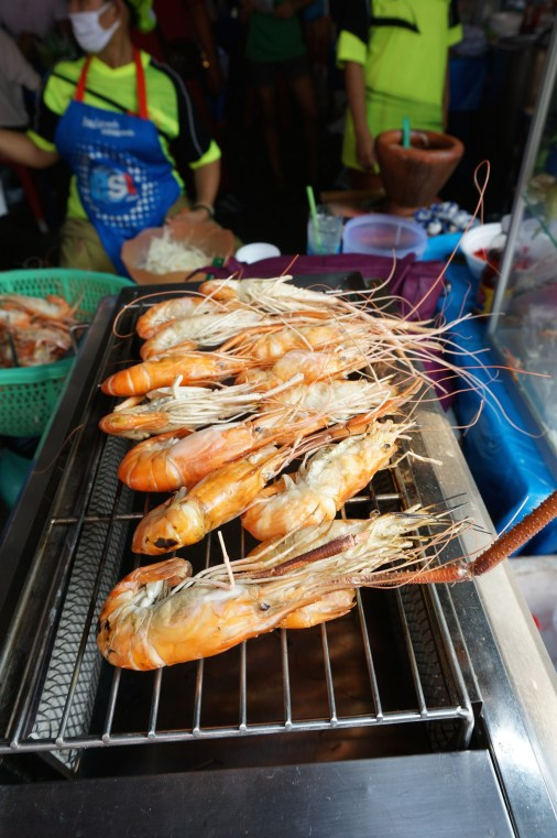 Fresh shrimp on the grill, Bangkok's JJ Market street food
