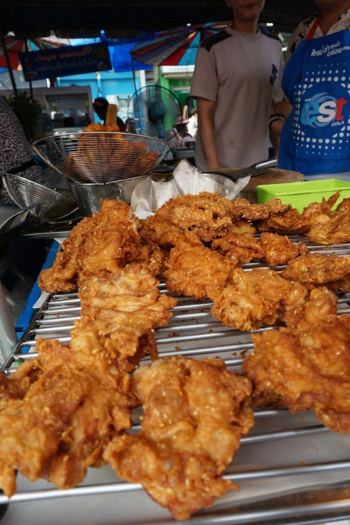 Thai-spiced fried chicken at Bangkok's Chatuchak Market (JJ market).