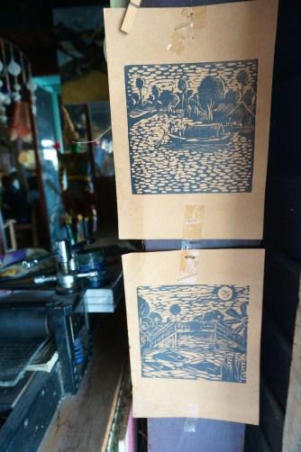 Bangkok Klhong Bang Luang Artist Village Thailand Souvenir Art Wood Block Artisan