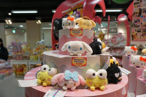 Cute plushies at a shopping mall in Okayama.