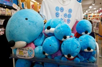 A pile of blue kawaii plushies. (Kitty Land, Tokyo, Japan).