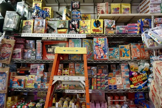 A wall of vintage toys reissued awaits.