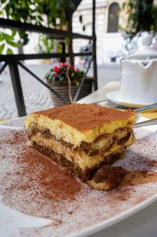 Late morning tiramsu at Monti's La Bottega del Caffè.