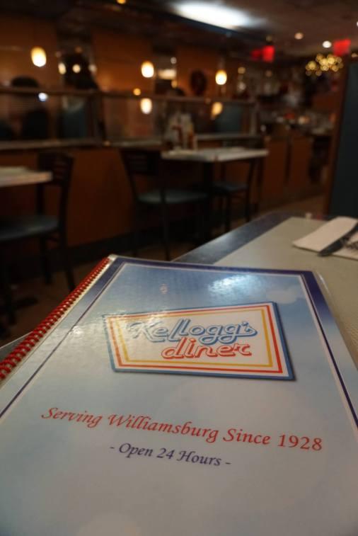 The hefty menu at Kellogg's diner.