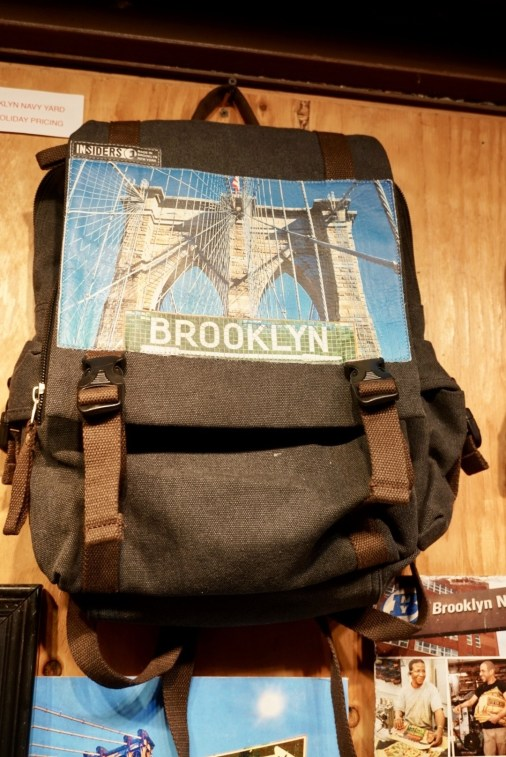 A perfect souvenir from Brooklyn-- a backpack with an image of the Brooklyn bridge. (Review, Artists and Fleas, Williamsburg).