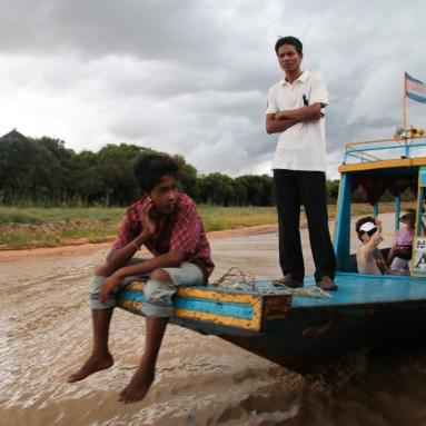 A tourist boat on Ton Le Sap lake, Cambodia