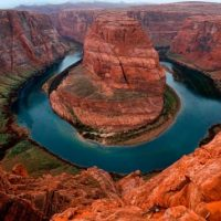 The Colorado River wraps around Horseshoe Bend.