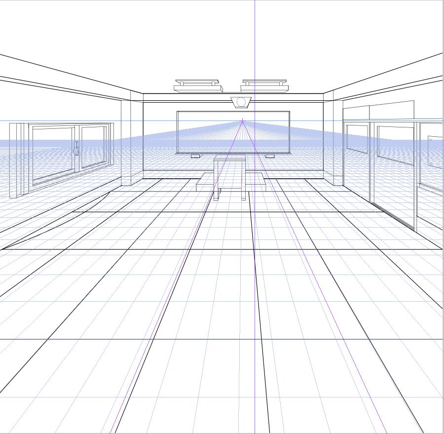 パースを使って教室を描く・一点透視図法89
