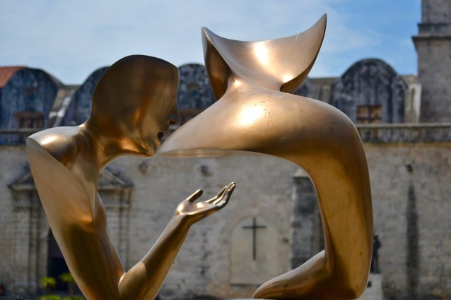 Interesting sculpture across from the Church and Convent of St Francis of Assisi, built in 1580