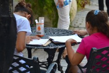 Students using some public space to get their homework done