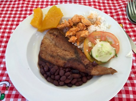fried fish with beans, chicken, and squash