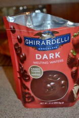 You can make ganache with equal parts cream and chocolate, or you can use Ghirardelli chips. Both worked well.