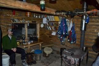 Drying out inside the Tatonduk River Cabin