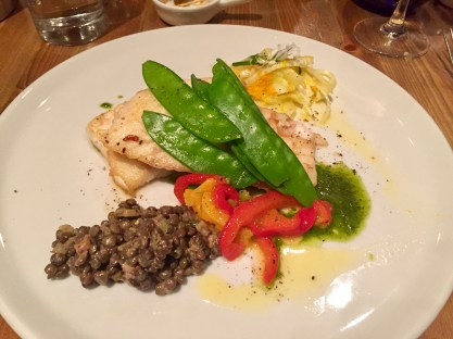 Haddock with lentils and snow peas