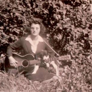 Larry Lamb's Aunt, Sevilla Lamb, playing guitar. Photo courtesy of Larry Lamb