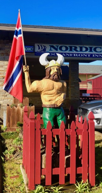 The Viking out front of the Nordic Oceanfront Inn