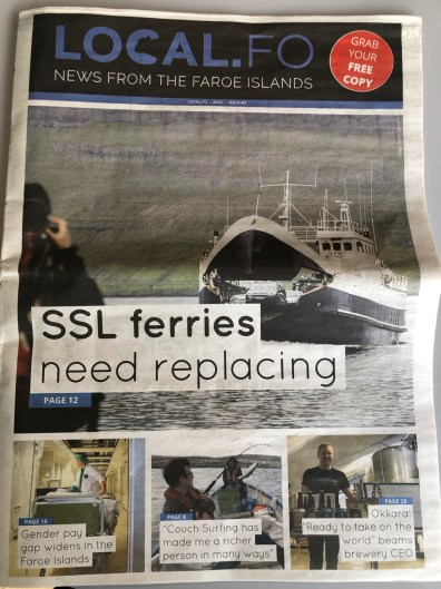The front page of the English-language newspaper, local.fo