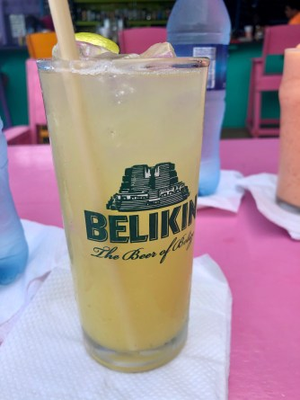 A panti rippa in a Belikin glass