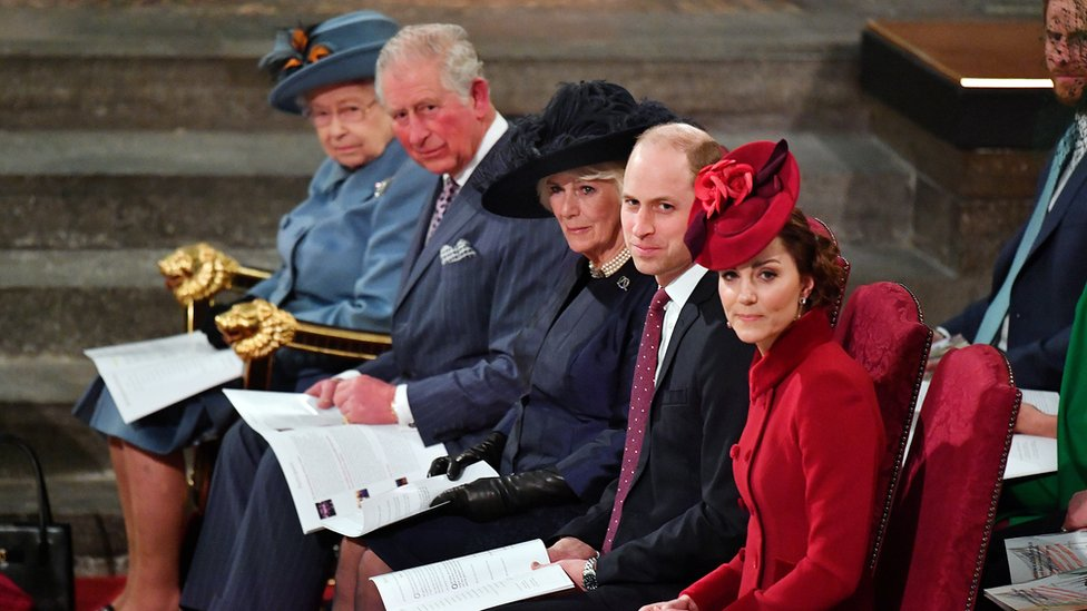 The Queen, Prince Charles, the Duchess of Cornwall, and the Duke and Duchess of Sussex