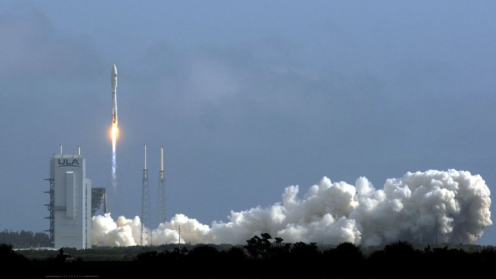 The rocket takes off from Cape Canaveral