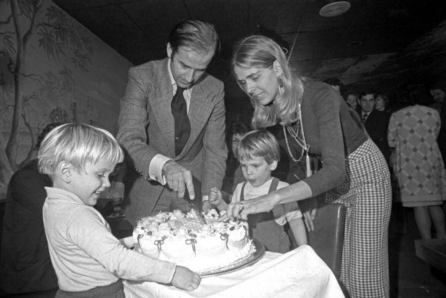 Senator-elect Joseph Biden and wife Nelia cut a birthday cake