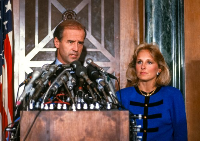 US Senator Joseph Biden speaks at a press conference with his wife beside him