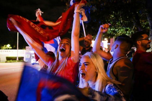 Сторонники Трампа у кубинского ресторана в Майами