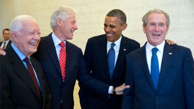 Экс-президенты США: Джимми Картер, Билл Клинтон, Барак Обама и Джордж Буш-младший