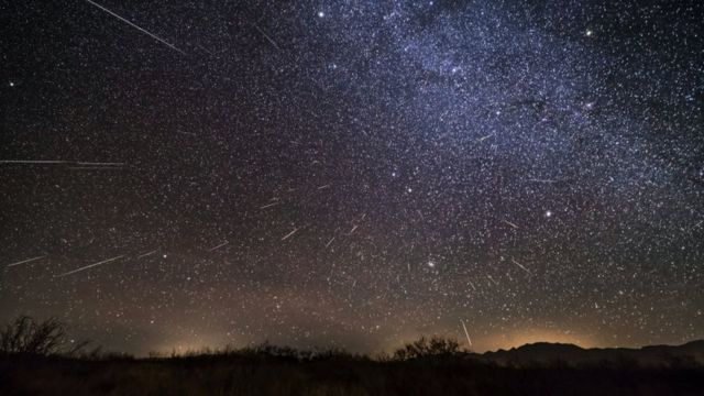 A composite image of the 2017 Geminid meteor shower in Arizona.