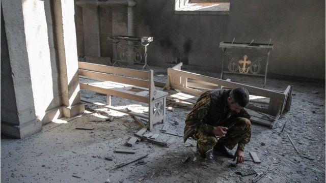 Церковь Газанчецоц в Шуше после ракетного удара