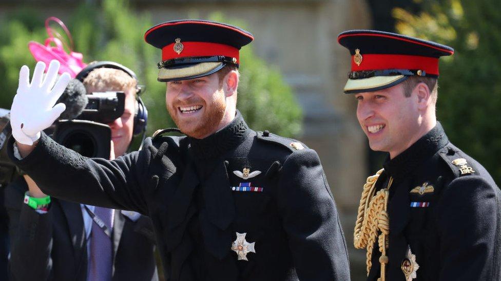 Принц Гарри и принц Уильям на свадьбе Гарри с Меган Маркл.