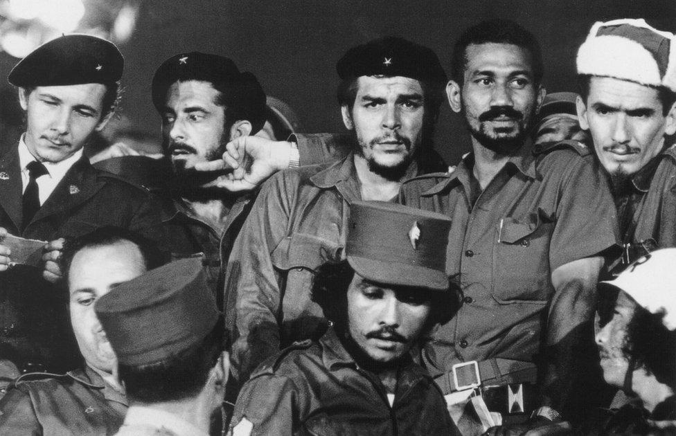 "(FILE) A 1959 photograph showing Commanders (L to R) Raul Castro, Antonio Nunez Jimenez, Ernesto ""Che"" Guevara, Juan Almeida and Ramiro Valdes in Havana during the first year of the Cuban revolution."