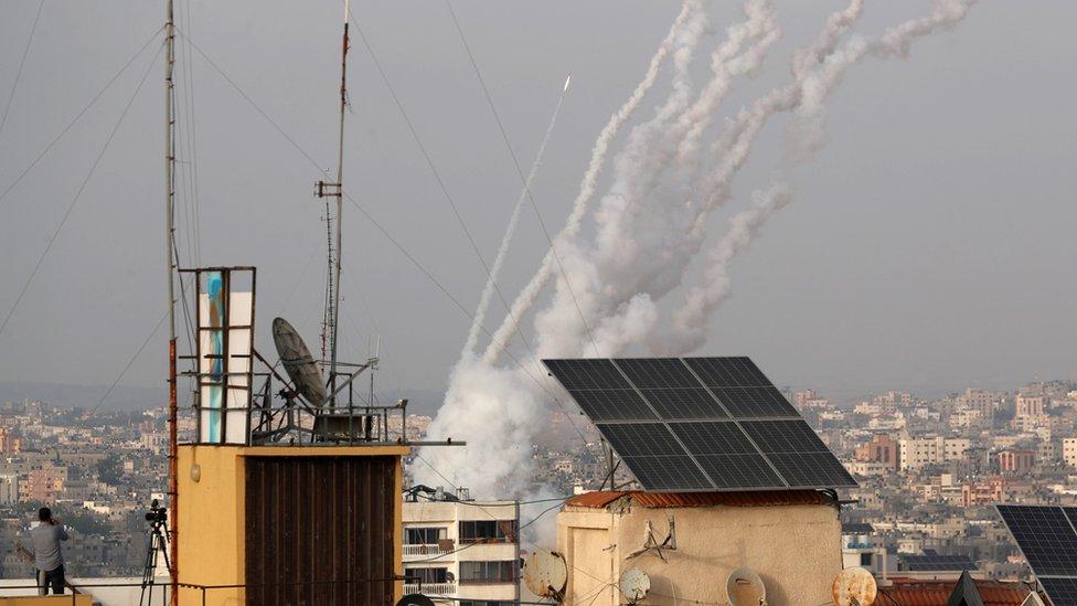 Запуск ракет из сектора Газа 10 мая 2021 г