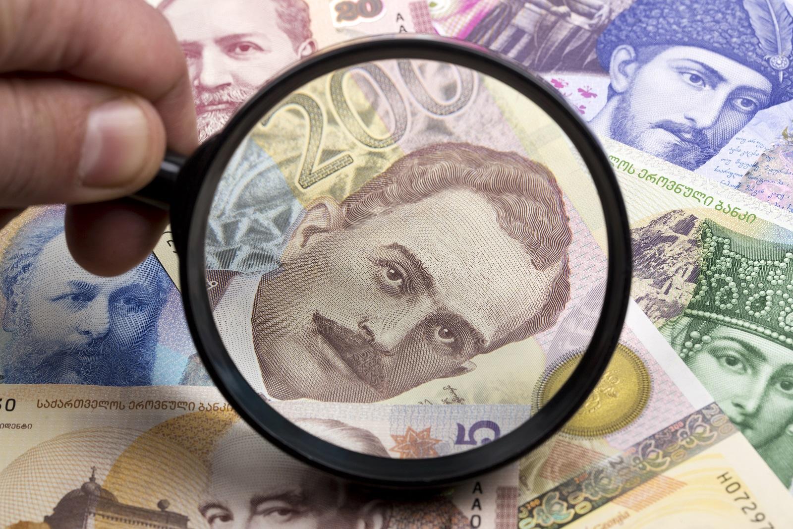 georgian lari in a magnifying glass 58N887W #общество featured, кредит, Микрокредит, финансы