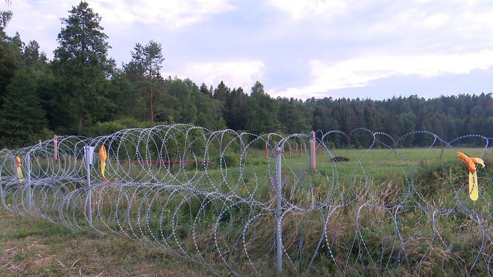 Литовские власти устаналивают заграждение из колючей проволоки вдоль литовско-белорусской границы