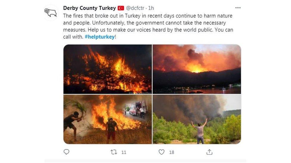 """Сообщение из """"Твиттера"""" с фотографиями пожаров"""